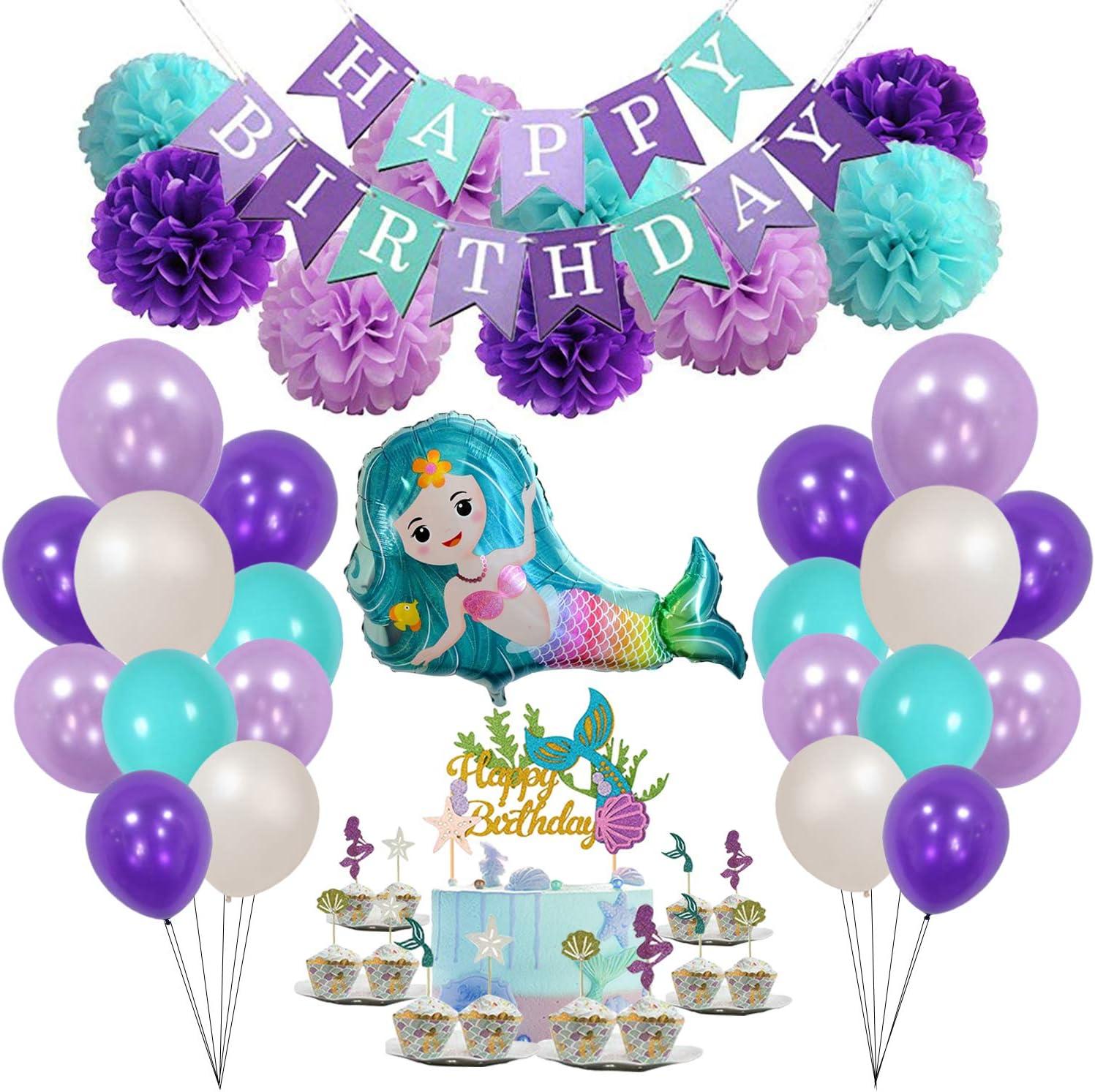 Mermaid Party Supplies, including Mermaid Cake Topper, Mermaid Balloons, Mermaid Cupcake Toppers, Happy Birthday Banner, Paper Pom Poms, White/Lavender/Tiffany Blue/Deep Purple Balloons