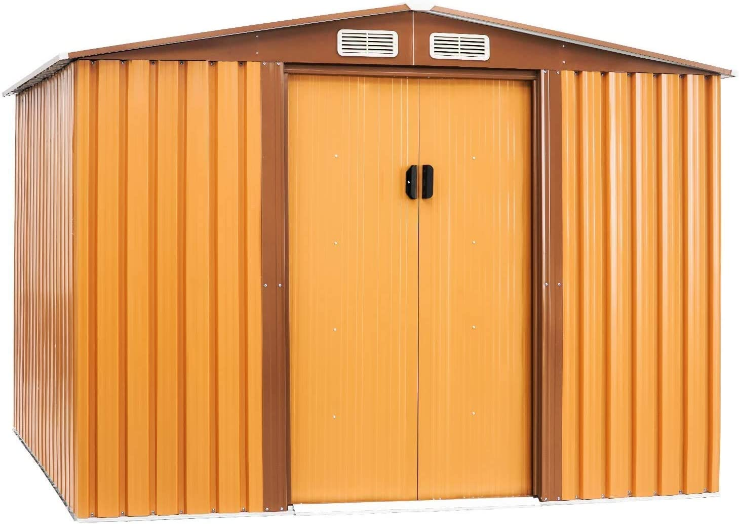 Amazon Com Crownland Backyard Garden Storage Shed 6 X 8 Feet Tool House With Sliding Door Outdoor Lawn Steel Roof Style Sheds Yellow Home Improvement