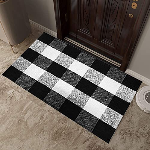 Besdas Buffalo Plaid Rug Cotton Plaid Rugs Black White Checkered Plaid Rug Hand-Woven Buffalo Check Rug Doormat Washable Porch Kitchen Area Rugs Layered Door Mats Bathroom Laundry Room