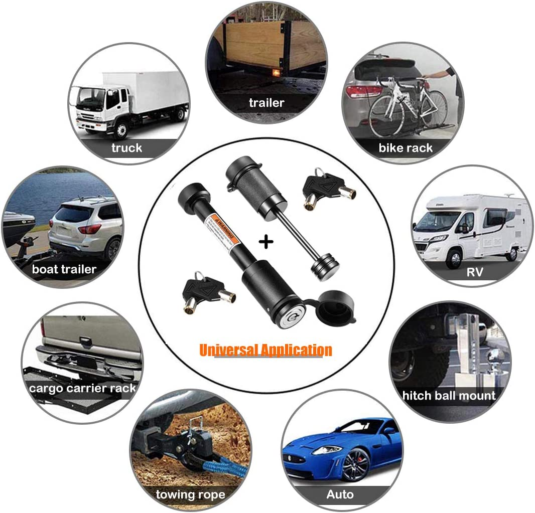 """CZC AUTO Hitch Lock Set, Dia 5/8 Inch Trailer Hitch Lock Hitch Receiver Pin Lock for Class III IV 2"""" and 2-1/2"""" Receiver, Dia 1/4 Inch Hitch Coupler Lock with 2-1/2 Inch Span Fits Latch-Type Couplers: Automotive"""