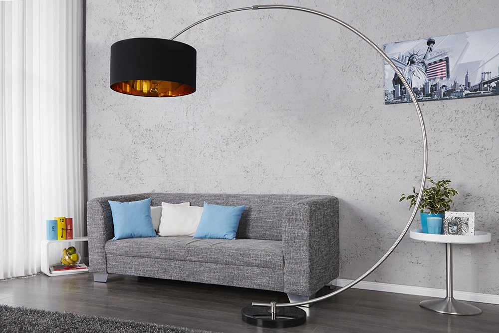 Stehleuchte Bogenlampe NICA schwarz gold mit Dimmer: Amazon.de ...
