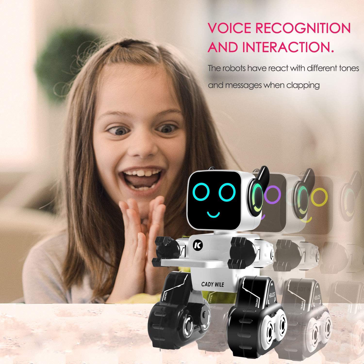 Remote Control Toy Robot for kids,Touch & Sound Control, Speaks, Dance Moves, Plays Music, Light-up Eyes & Mouth. Built-in Coin Bank. Programmable, Rechargeable RC Robot Kit for Boys, Girls All Ages. by IHBUDS (Image #4)