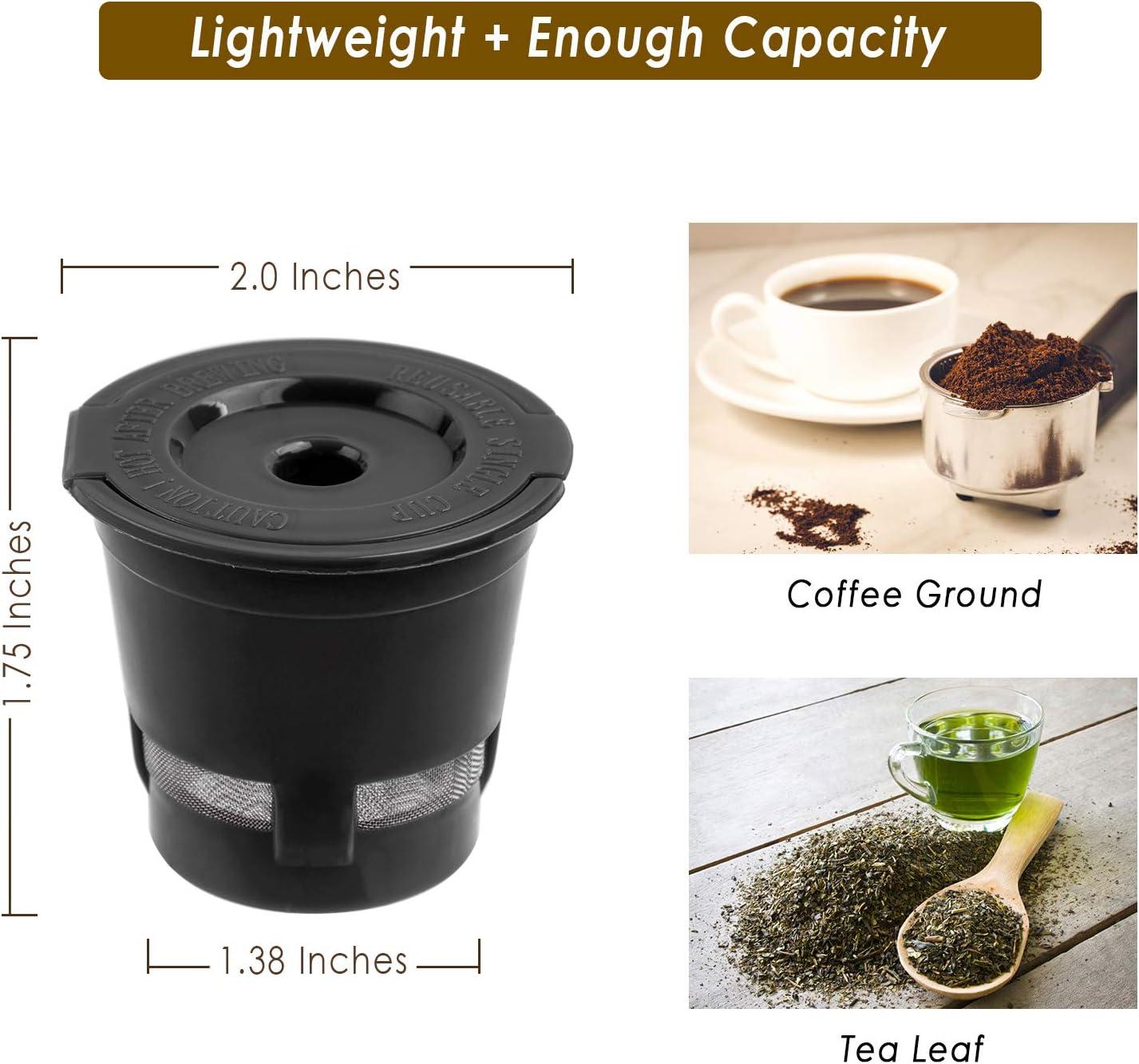Marr/ón LIGH Juego de Tazas de Filtro de c/ápsulas de caf/é Reutilizables con Cepillo de Cuchara Filtro de Malla de Acero Inoxidable ecol/ógico Adecuado para Dolce Gusto