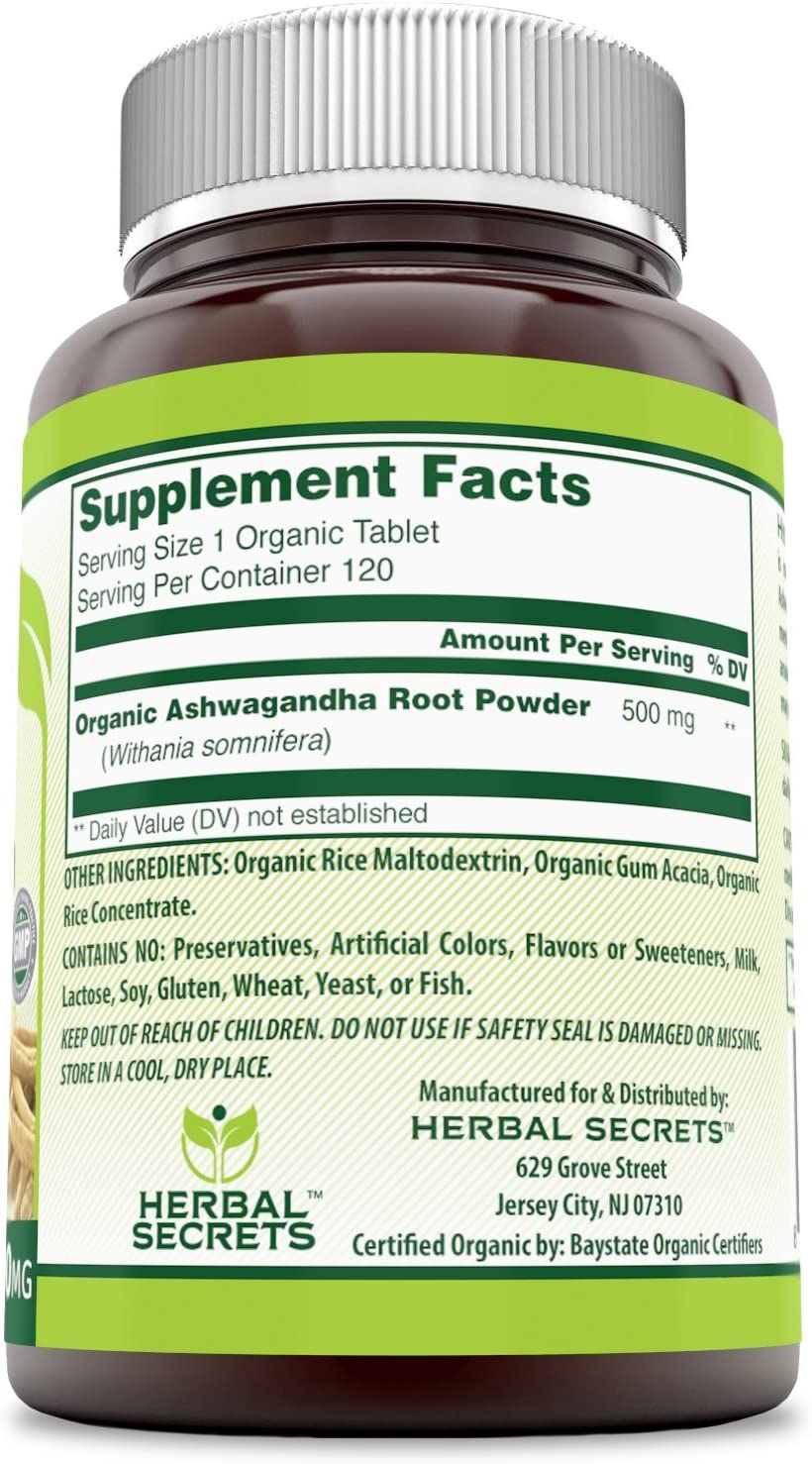 Herbal Secrets Organic Ashwagandha 500 mg 120 Organic Tablets (Non-GMO) - Supports Musculoskeletal System, Helps to Reduce Anxiety & Stress & Promotes Mental Clarity*: Health & Personal Care