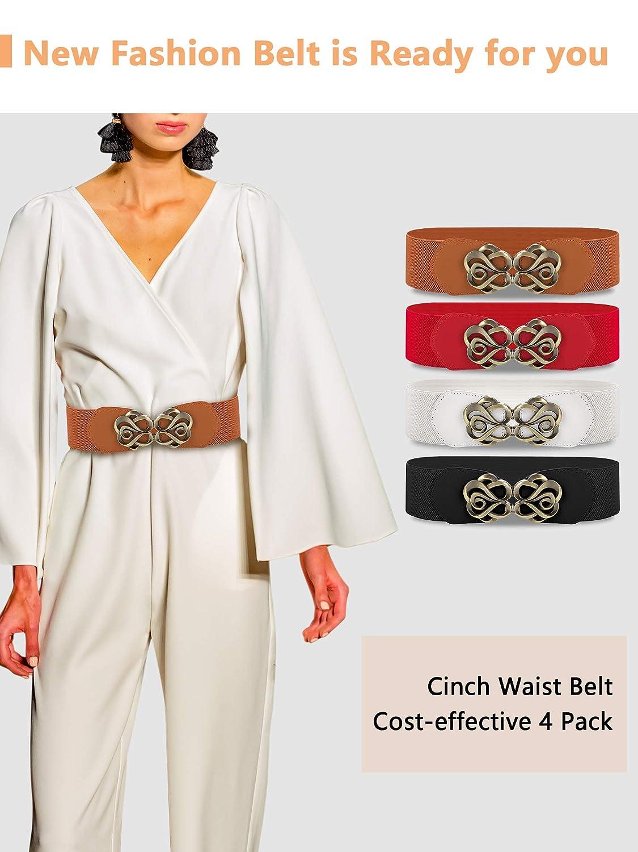 SATINIOR 4 Pezzi Elastico Abito Vintage Cintura Elastica Ampia Cintura Accessori Costume per Donne