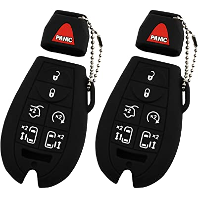 KeyGuardz Keyless Remote Car Smart Key Fob Shell Cover Soft Rubber Case for Town Country Grand Caravan (Pack of 2): Automotive