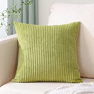 Artscope Cozy Striped Corduroy Pillow Covers Super Soft Decorative Square Throw Pillow Covers Case Cushion Covers for Sofa Couch Bedroom Car Decor 20 x 20 Inches, Apple Green