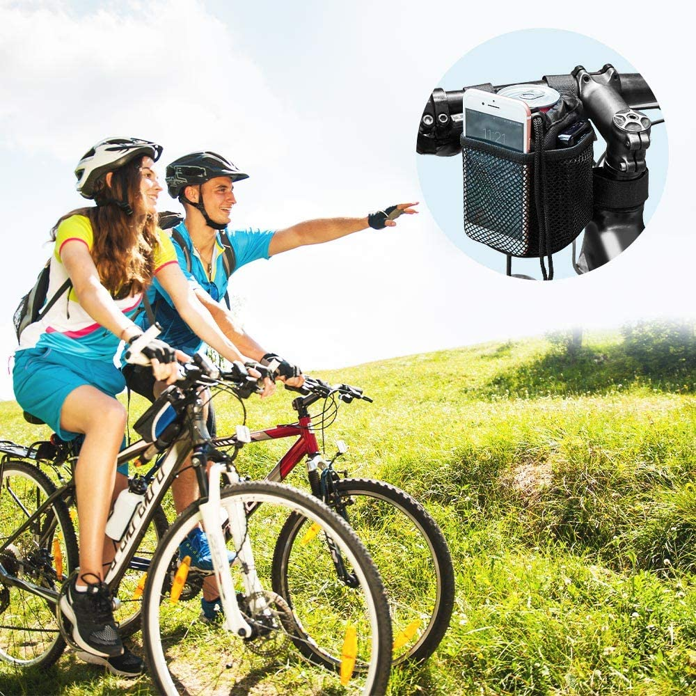 ISSYZONE 1PC Portabidon Bicicleta Ajustable Soporte de Botella de Tela para Estante Cochecito para MTB con 2 Bolsillos para Almecenar