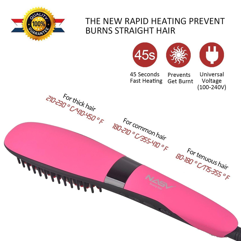 nasv pelo cabello cepillo eléctrico calefacción para más grueso/rizos/común/fina/suave pelo calor up-quickly y fácil uso seguro: Amazon.es: Belleza
