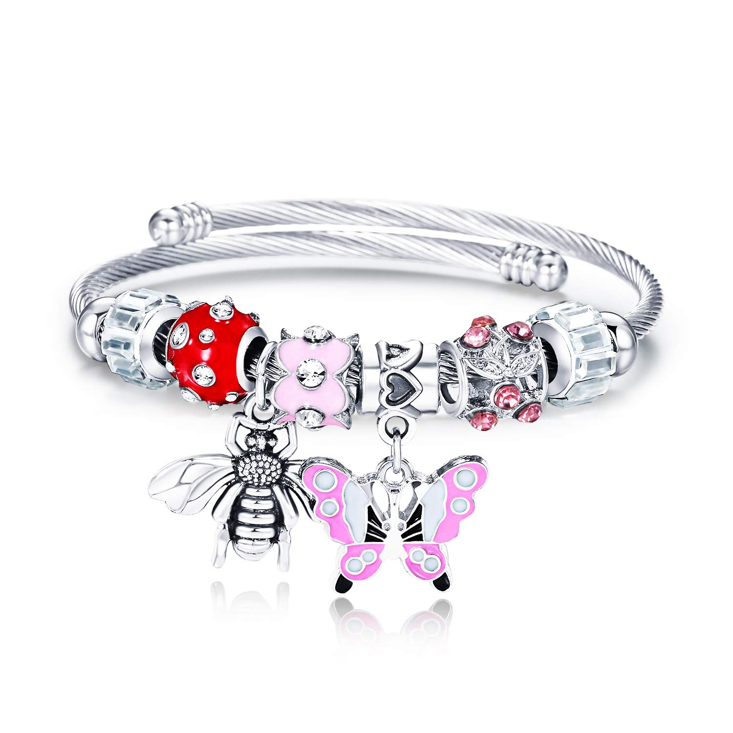 Crystal Beads Open Bracelets for Girls Aiwonted Stainless Steel Wrap Bracelets for Women Best Gifts on Valentines Day and Mothers Day /… Panda Pendant Bangles GS-panda Stainless Steel Wrap Bracelets for Women Pendant Bangles