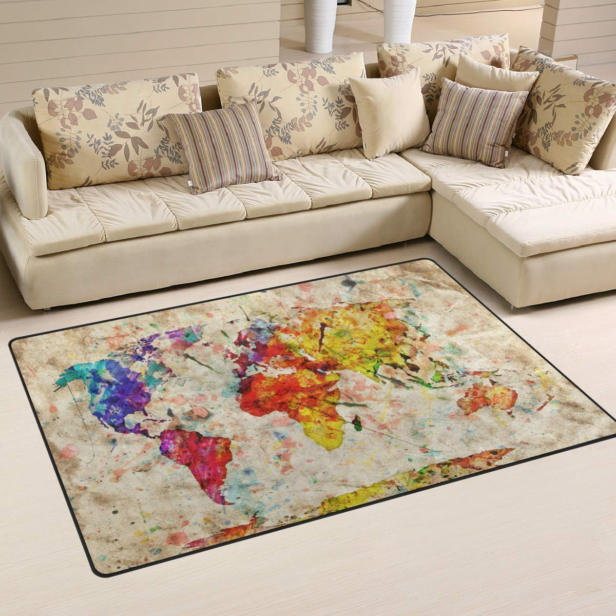 ALAZA Home Decor Dabbing Unicorn Rainbow Purple Galaxy Area Rug Carpet Rugs Floor Carpet Mat Living Room Carpet for Girls Room Home Indoor Decor 3x5