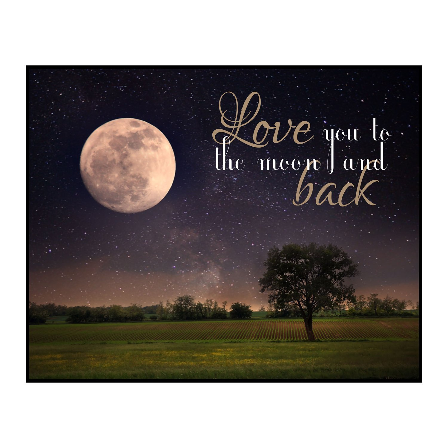 Love You to the Moon and Back Crop Field 12 x 15 Overlay Wood Wall Art Sign