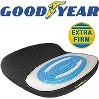 Goodyear GY1010 Black/Gray Car Seat Cushion, Premium Grade Memory Foam with Ultra Soft Plush Extra Firm Seat Cushion with Gel