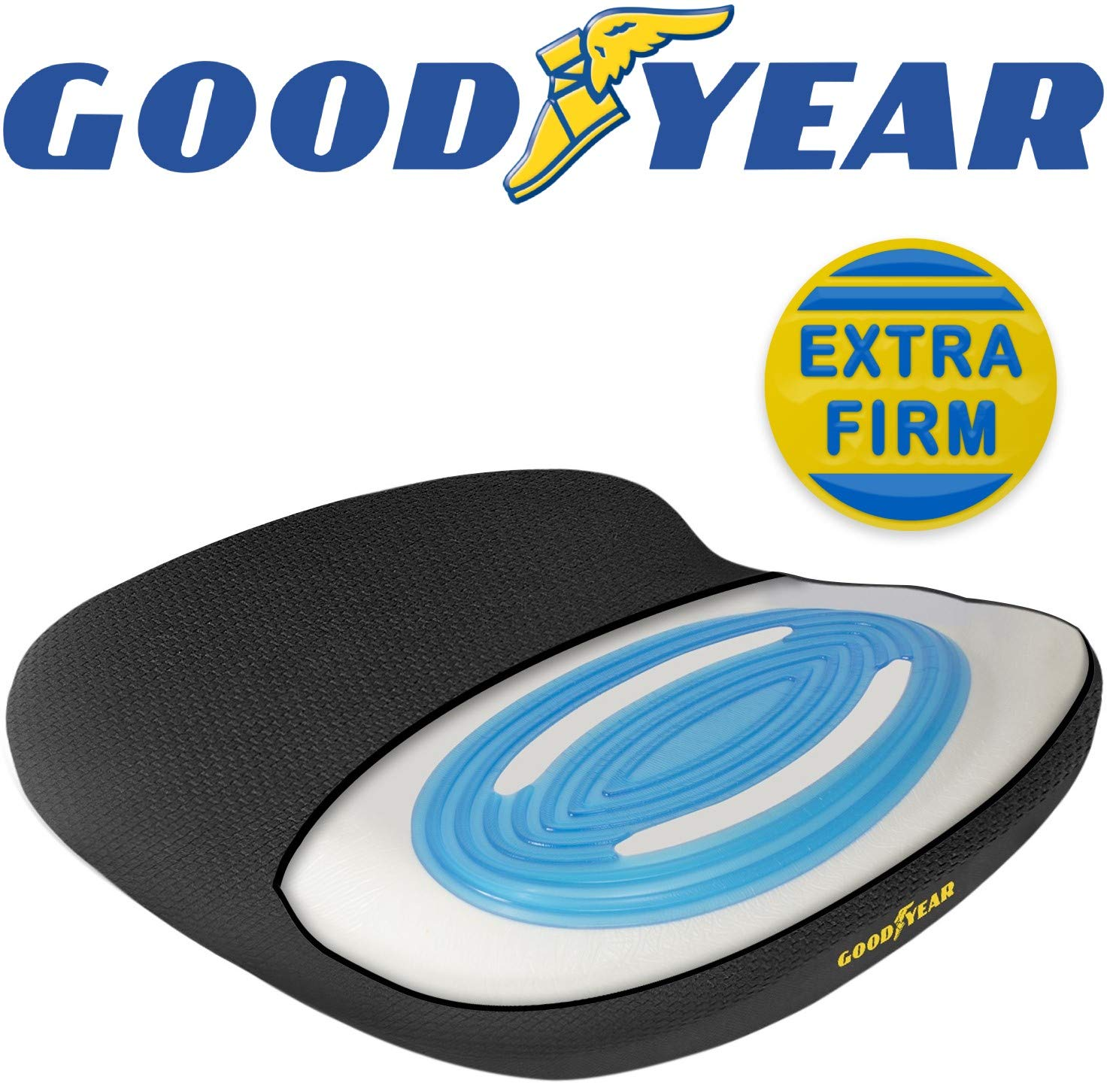 Goodyear GY1143  Extra Firm Seat Cushion for Office, Car, SUV  Memory Foam with Cooling Gel [The Effect is Subjective, and Varies by Personal Sensitivity]  Non-Slip Bottom