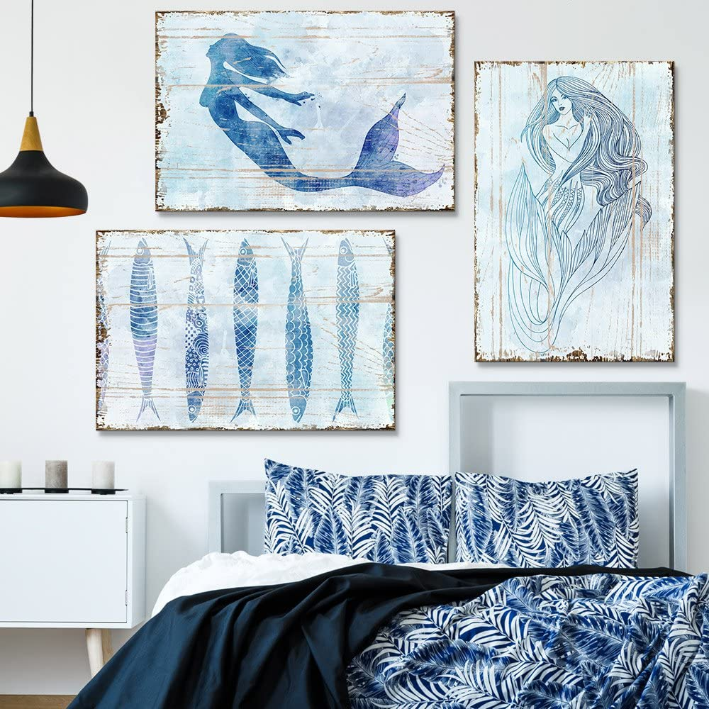 """wall26 3 Panel Canvas Wall Art - Rustic Style Mermaid and Fish - Giclee Print Gallery Wrap Modern Home Decor Ready to Hang - 16""""x24"""" x 3 Panels"""