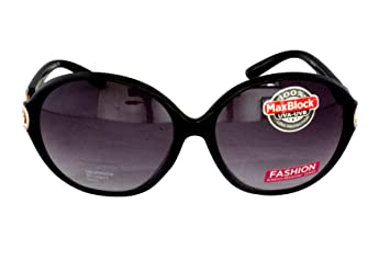 9a871cb6c3 Foster Grant FG15 Women s Oval Butterfly Style Sunglasses Black Plastic  Frame   Arms with Gold Metal