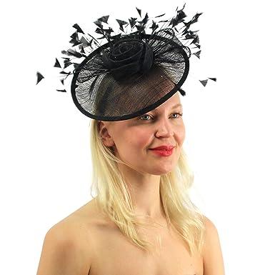 6e306c40 ANGELA & WILLIAM Flamboyant Feathers Sinamay Disc Fascinators Headband  Cocktail Derby Hat Black