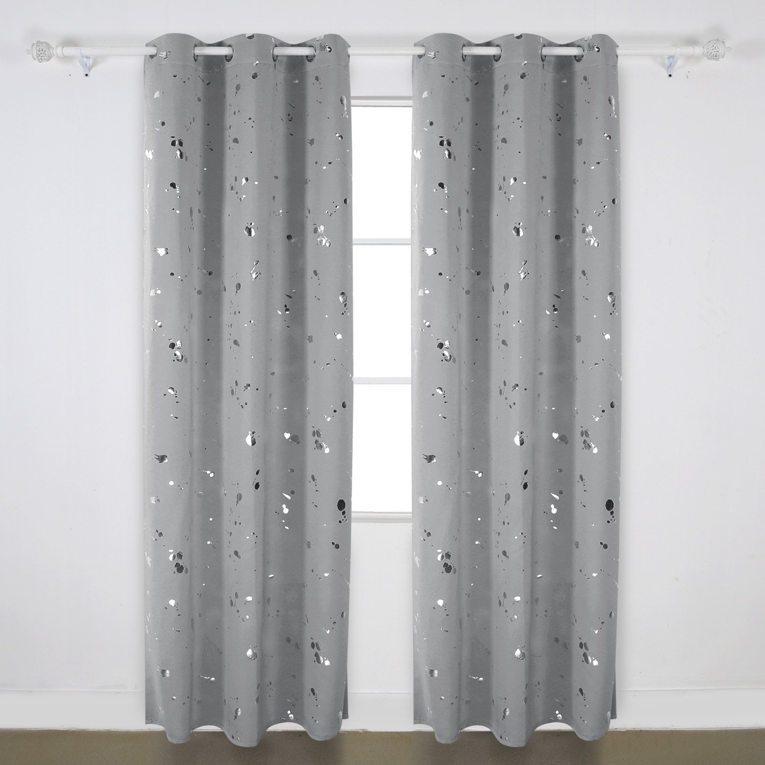 Deconovo Fashion Silver Dots Foil Printed on Light Grey Thermal Insulated Blackout Grommet Curtains for Girl's Bedroom