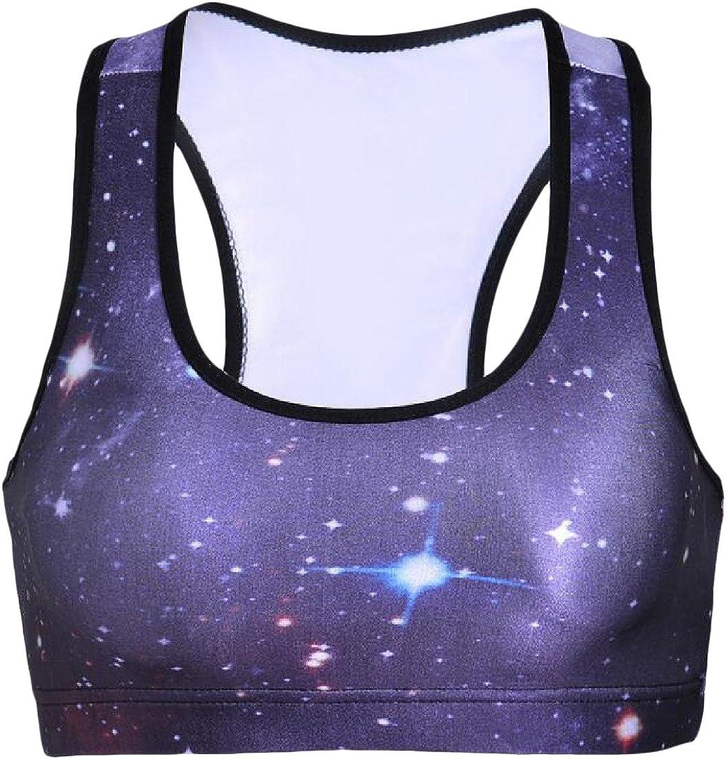 Vivi Women Workout Gym Absorb Sweat Digital Print Fitness Bra As Picture XS