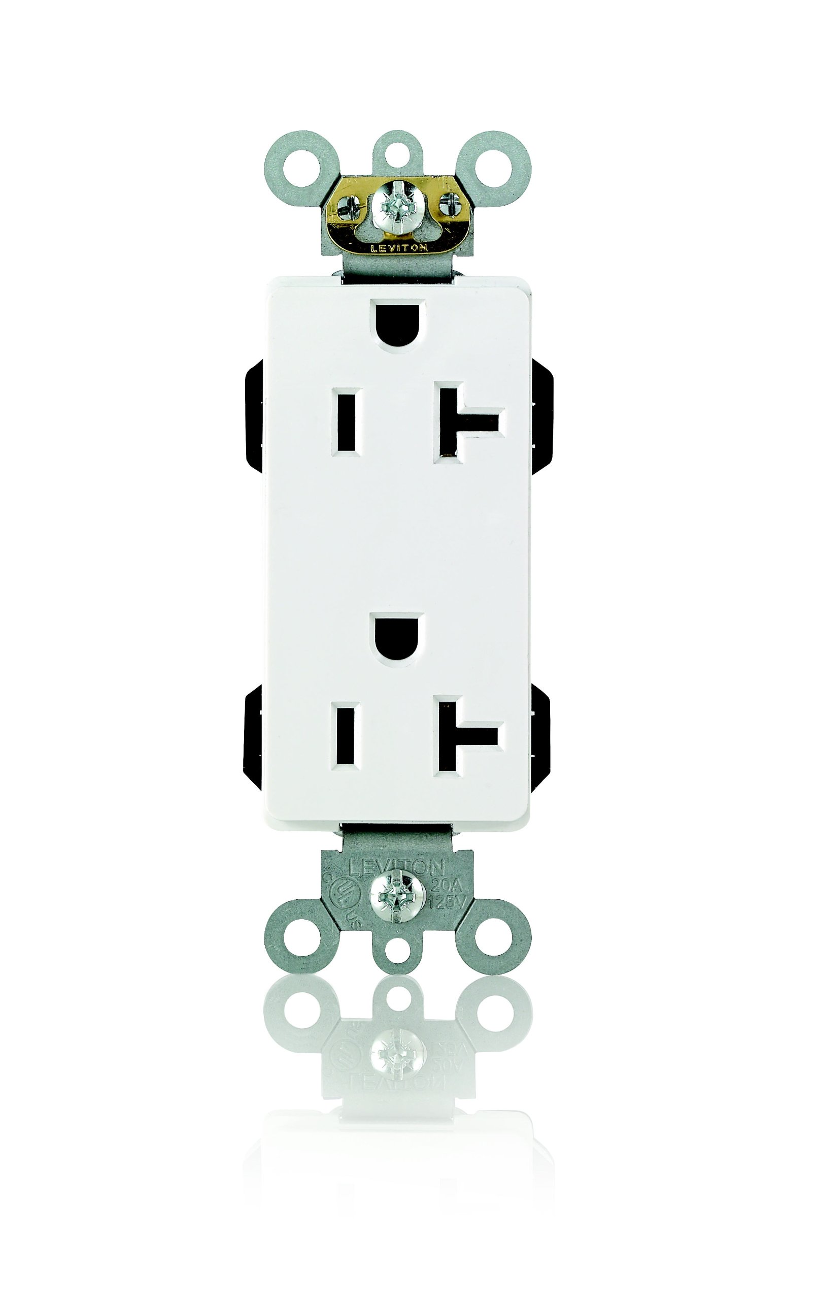 Leviton M1636-W Lev-Lok Modular Wiring Device 20-Amp, 125-Volt, Decora Plus Duplex Receptacle, Commercial Grade, Straight Blade, Self Grounding, White