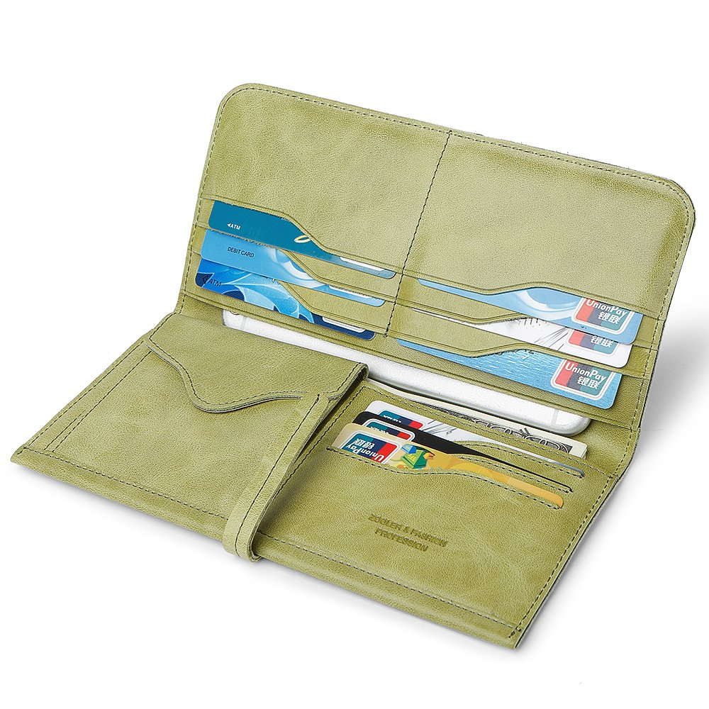 ZOOLER GLOBAL Women's Genuine Leather Clutch Wallets Wristlet Organizer Purse with Large Space Card Hold Green
