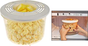 "HOME-X Self-Buttering Microwave Popcorn Popper with Lid, Healthy Eating, Handy Kitchen Utensil-BPA Free-Dishwasher Safe-7 5/8""D x 5 1/4"" H"