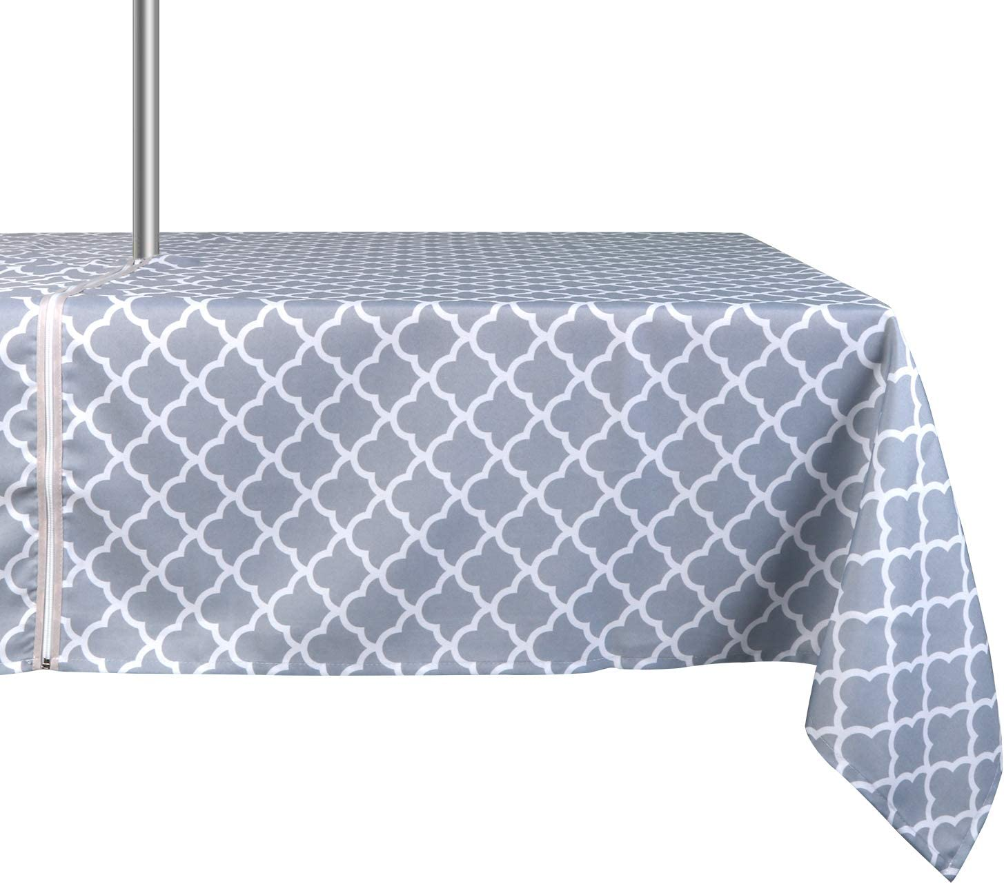 ColorBird Elegant Trellis Tablecloth Waterproof Spillproof Polyester Fabric Table Cover with Zipper Umbrella Hole for Patio Garden Tabletop Decor, 60 x 84 Inch, Zippered, Light Gray