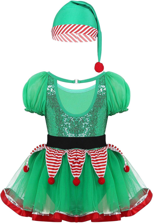 YiZYiF Disfraz Duende Elfo Niñas Vestido Navideño Traje Papá Noel ...