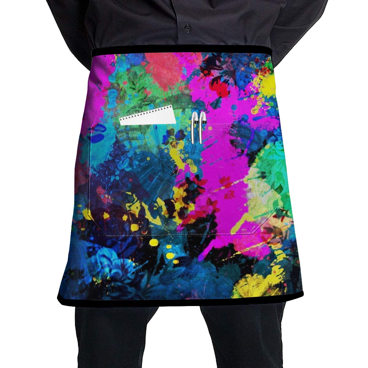 Adjustable Bib Apron with Pocket for Women, Men, Chef, Kitchen, Home, Restaurant, Cafe, Cooking, Baking, Gardening (Psychedelic Trippy Splash Painting)