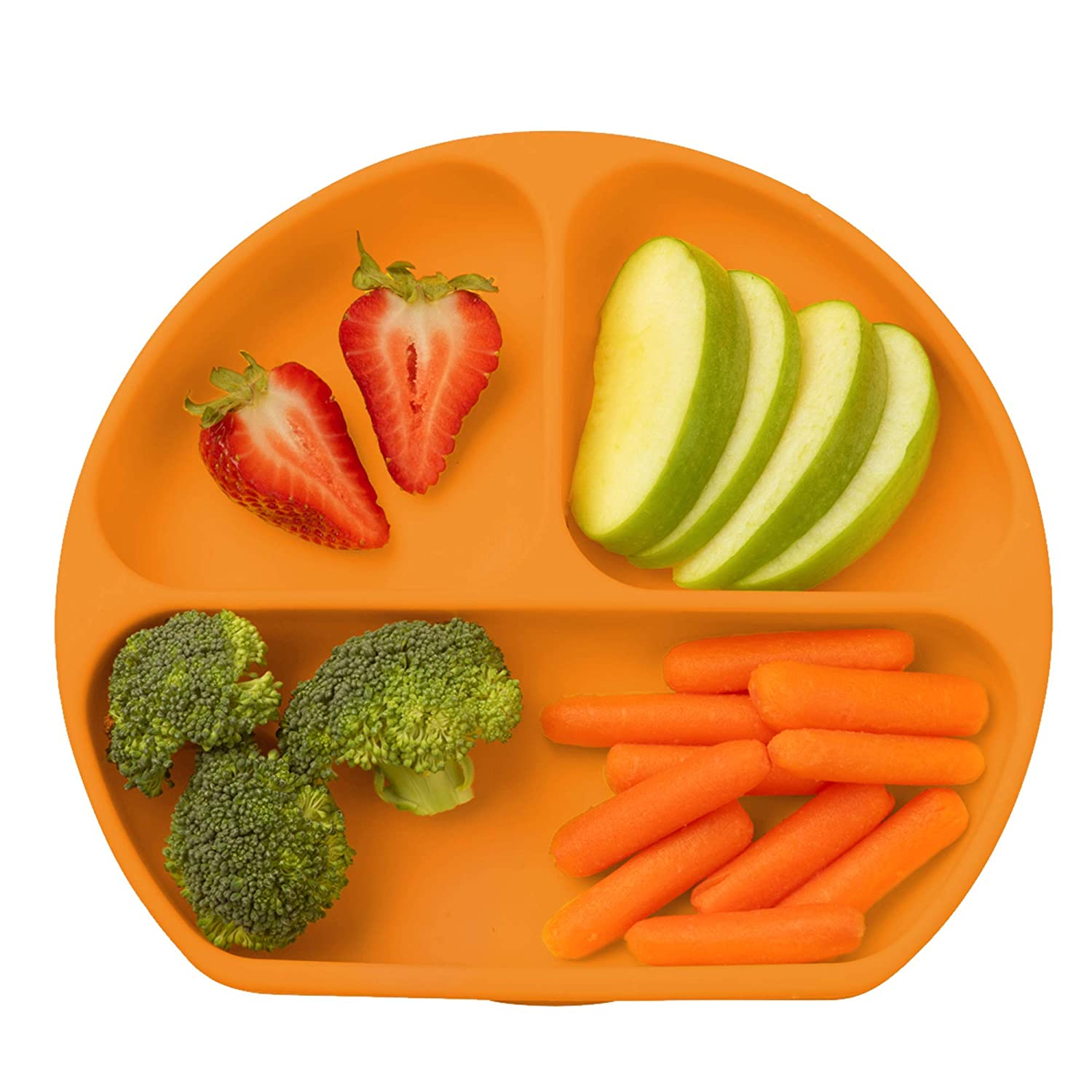 Table-Tot 3-Compartment Plate for Kids, Baby-Safe Silicone, Suction Plates for Toddlers by Juliaire (Orange)