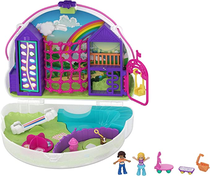Amazon.es: Polly Pocket Cofre Colgante Polly con Shani en forma de arcoiris, muñeca con accesorios (Mattel GKJ65): Juguetes y juegos