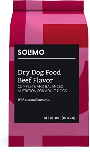 Amazon Brand - Solimo Basic Dry Dog Food with Grains Chicken or Beef Flavor