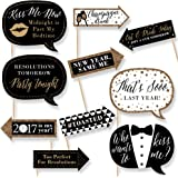 Funny New Year's Eve - New Years Eve Party Decorations - Photo Booth Props Kit - 10 Count