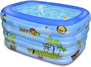 Inflatable Swimming Pool, Family Swim Center Inflatable Above Ground Swimming Pools for Kids, Adults, Toddlers, Babies, Outdoor Garden Yard Use, 59 in x 43 in x 19.5 in