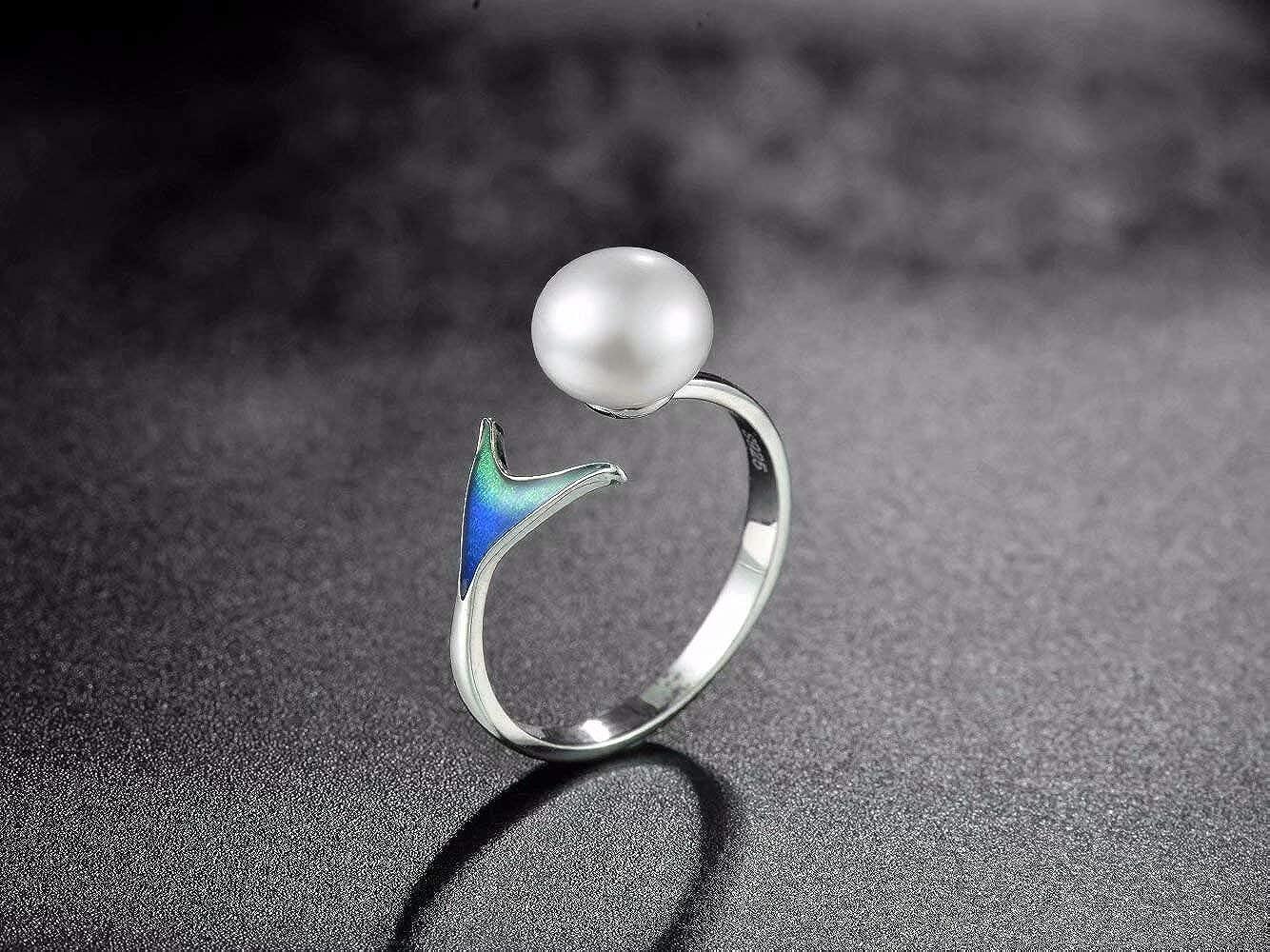 Presentski Sterling Silver Adjustable Mermaid Pearl Engagement Open Rings for Women