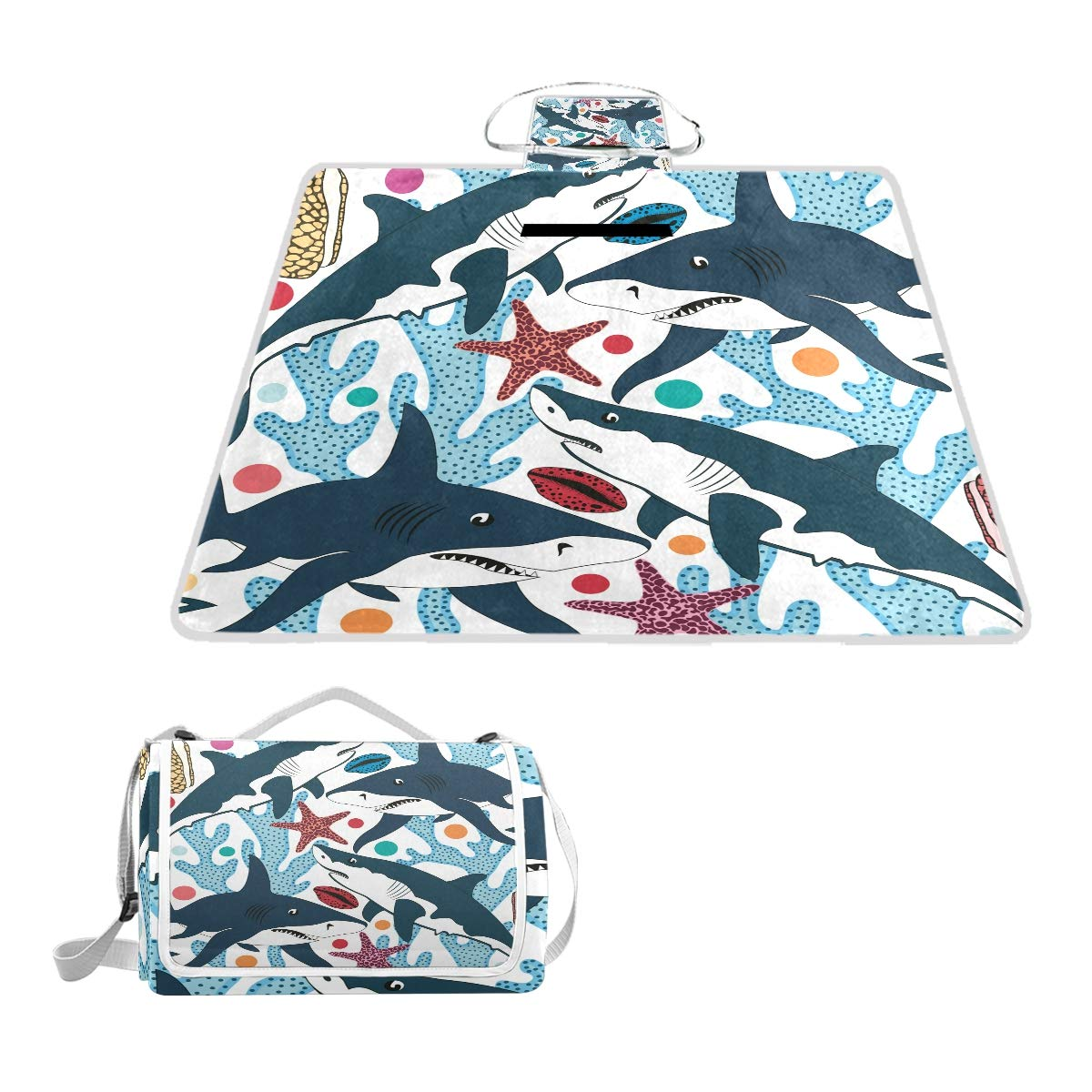 Anyangquji Sharks Shells Picnic Blanket 57''x59''