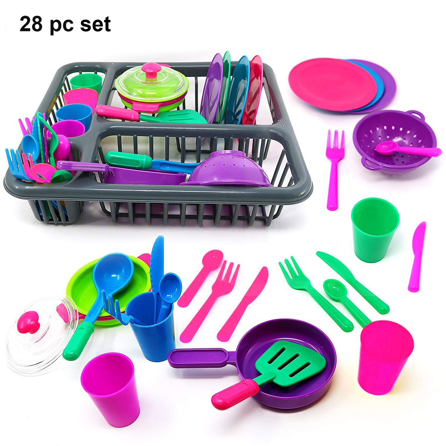 VIPAMZ Kitchen Pretend Play Toys-Tableware Dishes Play Colourful Set (26 Pcs)