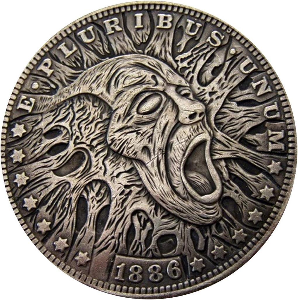 seltene Antike USA USA 1886 Jahr Morgan Dollar Totensch/ädel Zombie gro/ße Silberfarbene M/ünze Bespoke Souvenirs