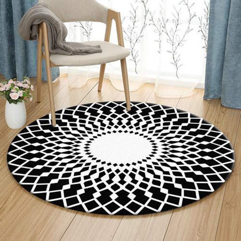 QXJPZ Runder Teppich für Wohnzimmer Schlafzimmer Bedside Home Chair große Fläche Teppich geometrische Muster schwarz weiß grau (Farbe   2 , größe   Diameter200cm)