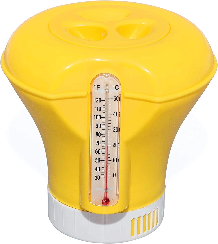 Chemikalienschwimmer mit Thermometer Chlordosierer Pool Dosierschwimmer Gelb