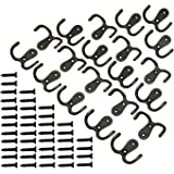 LJY 20 Pieces Double Prong Robe Hooks with Screws Pack Retro Wall Mounted Coat Hangers Over Door