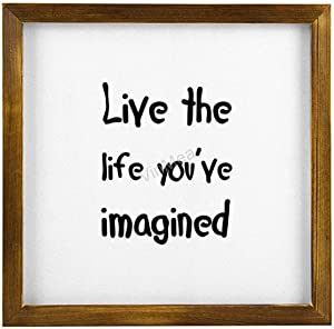 VinMea Wood Sign Live The Life You've Imagined Framed Wooden Wall Art Home Decor, 12'' x 12''
