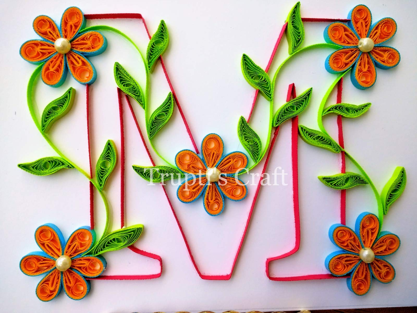 Paper Quilling Monogram 'M' Wall Frame/Wall Hanging/Home Decor/Gift / Children Room Decor/Monogram / Paper Quilling Gift