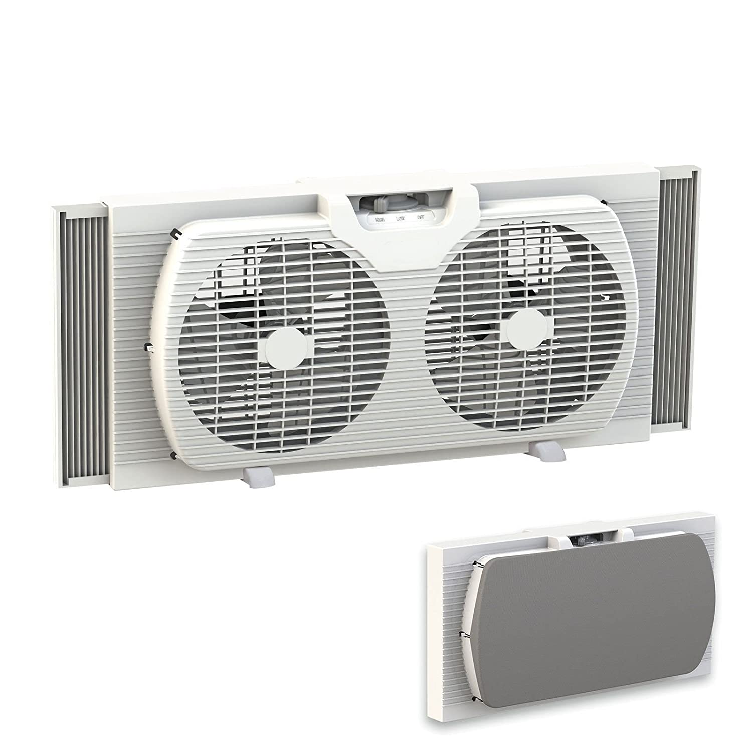 Dual Blade 9-Inch Twin Window Fan with Cover Portable, White Lotus Analin 319WT