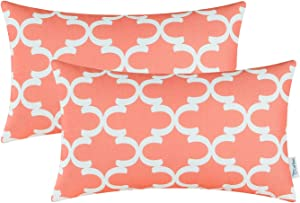 CaliTime Pack of 2 Soft Canvas Pillow Covers Cases for Couch Sofa Home Decor Modern Quatrefoil Accent Geometric 12 X 20 Inches Coral Pink