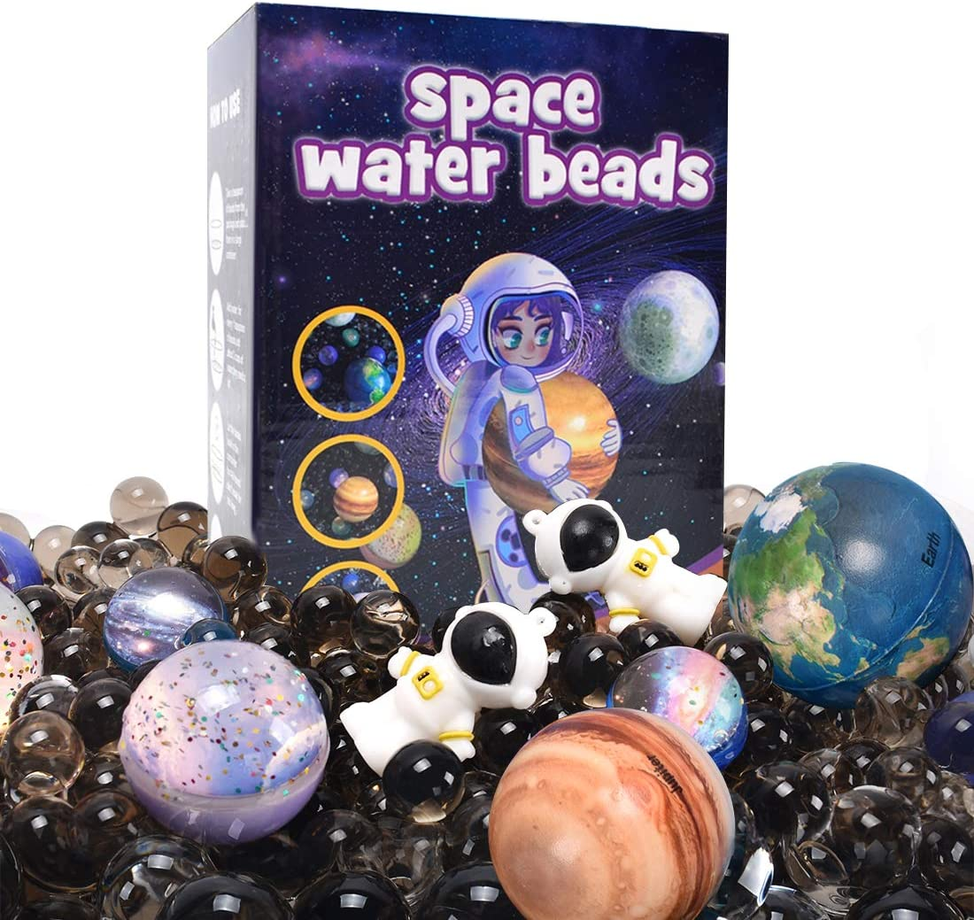 AINOLWAY Space Water Beads Kit Non-Toxic Sensory Toy for Kids Educational STEM Outer Space Exploration Toys Set with 11 Spaceballs and 2 Astronauts