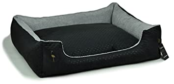 Lauren Diseño Cama para Perros CEZAR 100 cm x 80 cm Negro Acolchada/Gris |