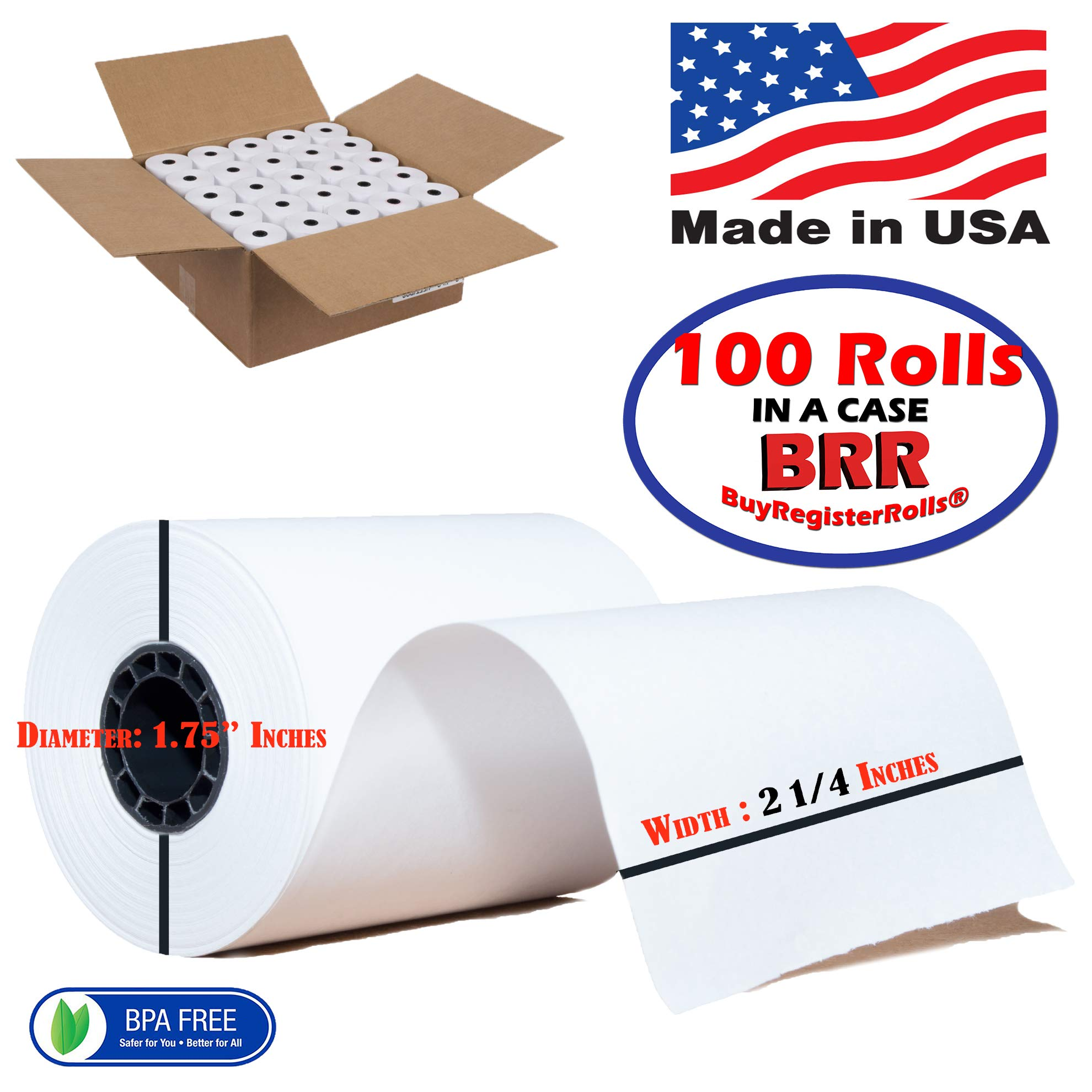 2 1/4 x 85 Thermal Paper 100 Rolls Extra Large roll for Clover Mini,Verifone VX510 VX570 VX610 VX810 VX820 BPA Free Made in USA from BuyRegisterRolls by BuyRegisterRolls