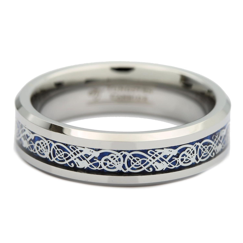 BAQF wedding ring Amazon com 6MM 8MM Blue Celtic Dragon Men s Women s Tungsten Carbide Ring Wedding Band Jewelry