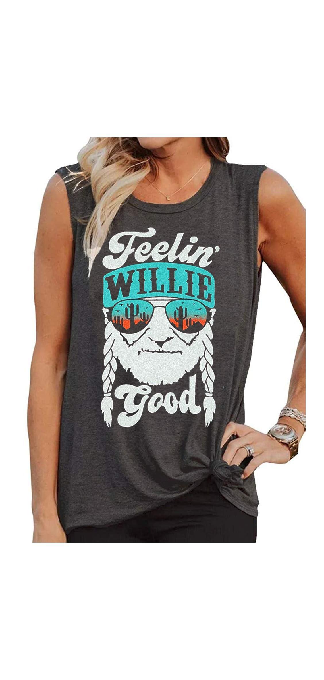 Willie Nelson T Shirt Feelin' Willie Good Women Tank